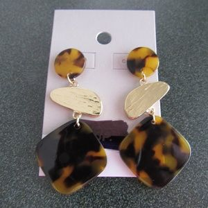 BP gold tone tortoise shell triple dangle earring